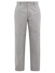 Raf Simons Illusion Emboidered Cotton Twilll Trousers Grey