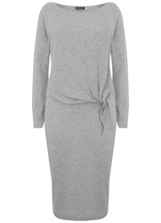 Mint Velvet Silver Gery Tie Front Ribbed Dress Grey