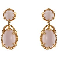 Eclectica Vintage 1970S Panetta Gold Plated Glass Stone Clip On Drop Earrings Pink Gold