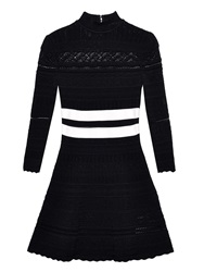 Alexander Mcqueen Panelled Lace Knit Skater Mini Dress