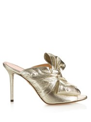 Charlotte Olympia Ilona Metallic Front Bow Mules Silver