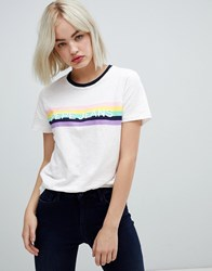 Pepe Jeans Luca Rainbow Logo T Shirt Off White