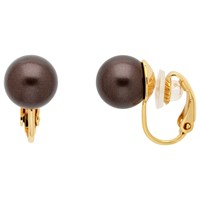 Finesse Faux Pearl Clip On Earrings Brown