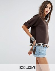 Milk It Vintage Oversized Crop Sweat With Pom Pom Trim Brown