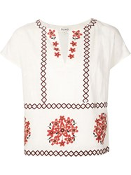 Suno Embroidered Short Sleeve Top White