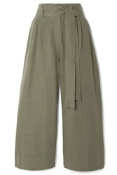 Co Cropped Belted Woven Wide Leg Pants Army Green