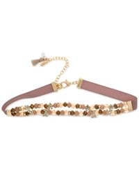Lonna And Lilly Gold Tone Bead Crystal Ribbon Choker Necklace