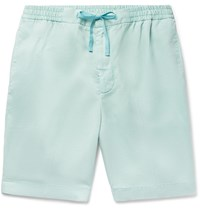 Officine Generale Pleated Lyocell Drawstring Shorts Green