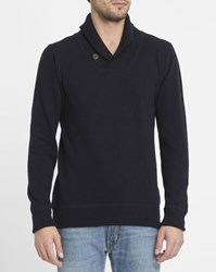 Knowledge Cotton Apparel Navy Lambswool Shawl Collar Sweater Blue