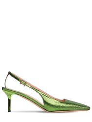 Rochas 60Mm Lurex Crepe Slingback Pumps Green