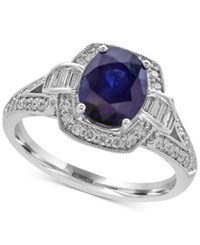 Effy Royale Bleu Sapphire 1 9 10 Ct. T.W. And Diamond 1 2 Ct. T.W. Ring In 14K White Gold