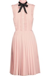 Mikael Aghal Pussy Bow Pleated Crepe Dress Pastel Pink