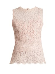 Dolce And Gabbana Round Neck Sleeveless Cordonetto Lace Top Light Pink