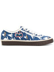 Marni Sailboat Printed Sneakers Canvas Polyester Rubber Blue