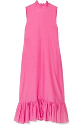 Maggie Marilyn Floating On The Clouds Organic Cotton And Silk Blend Midi Dress Magenta
