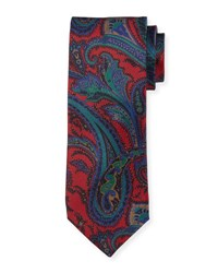 Neiman Marcus Italian Made Tapestry Silk Tie Red