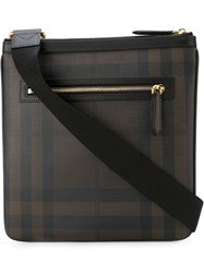 Burberry Checked Messenger Bag Brown