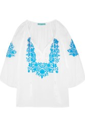 Melissa Odabash Rihanna Embroidered Voile Blouse White