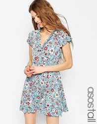 Asos Tall Tea Dress With Ruffles In Vintage Floral Print Multi