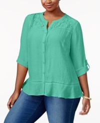 Ny Collection Plus Size Lace Yoke Blouse Mint Chiclily
