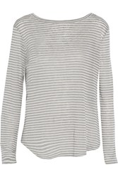 Enza Costa Striped Gray And White Linen Blend Top
