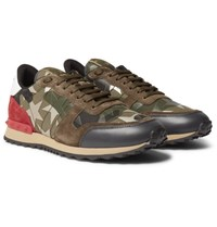 Valentino Camouflage Print Canvas Leather And Suede Sneakers Army Green