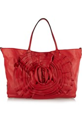 Valentino Rosette Embellished Leather Tote Red