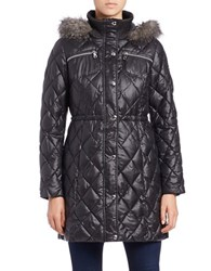 Guess Faux Fur Trimmed Quilted Jacket Black