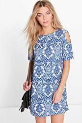 Boohoo Paisley Cold Shoulder Shift Dress Multi