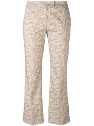 Incotex 3D Print Cropped Trousers Nude Neutrals