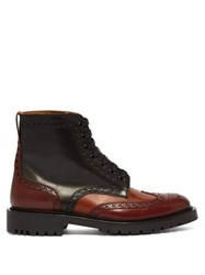 Burberry Barkeston Brogue Leather Boots Brown