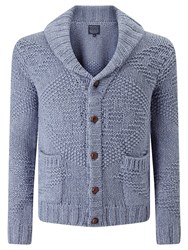 John Lewis And Co. Jacquard Cotton Shawl Collar Cardigan Indigo