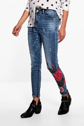 Boohoo Mid Rise Floral Embroidered Skinny Jeans Mid Blue