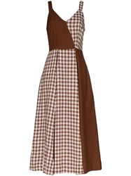 Rejina Pyo Checked Contrasting Midi Dress Brown