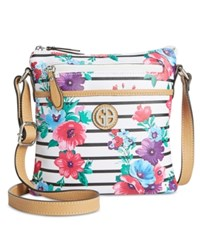 Giani Bernini Floral Stripe Crossbody Only At Macy's White Black Multi