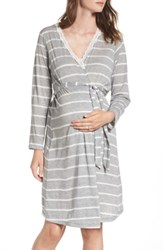 Belabumbum Women's Heather Maternity Robe Grey Stripe