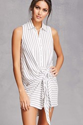 Forever 21 Striped Tie Front Shirt White Navy