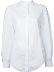 Courreges Collarless Shirt Women Cotton 40 White