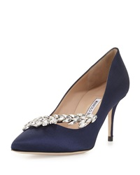 Manolo Blahnik Nadira Jeweled Satin Pump Navy Imp Navy Satin 45