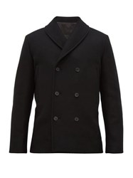 The Row Andrew Double Breasted Wool Blend Jacket Black