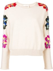 Chloe Embroidered Floral Jumper Nude And Neutrals