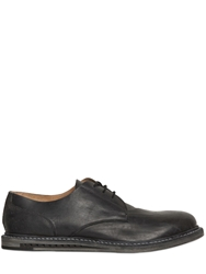 Premiata Washed Reverse Horse Leather Derby Shoes Black