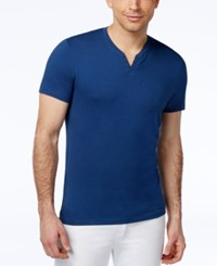 Alfani Red Solid Slim Fit Split Crew Neck T Shirt Blue Jeans