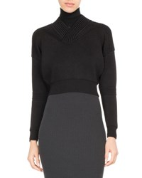 Atlein Cropped Rib Knit Turtleneck Sweater Black