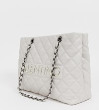 Valentino By Mario Valentino Grey Quilted Chain Strap Tote Bag