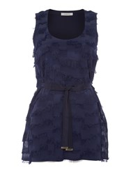 Marella Dioxide Sleeveless Tassle Top With Scoop Neck Navy