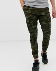 Solid Slim Fit Cuffed Cargo Pant In Camo Green