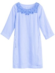 Sandwich Linen Dress With Embroidered Neck Detail Blue