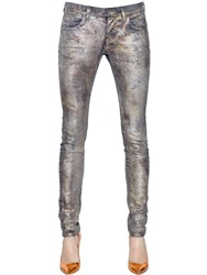 Faith Connexion Coated Stretch Cotton Denim Jeans Silver
