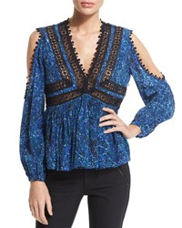 Rebecca Taylor Long Sleeve Paisley Cold Shoulder Top Rainstorm